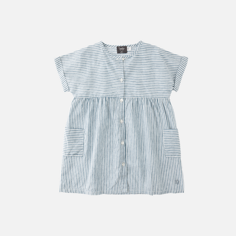 Linen/Cotton Stripped Dress - Green - 2-8y