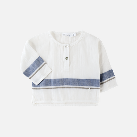 Cotton Stripe Shirt - Ecru - 12m-8y