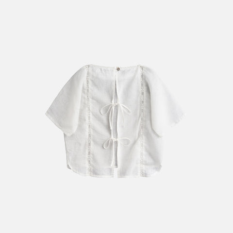 Cotton SS Lace Blouse - White - 3y