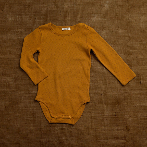 Organic Cotton Pointelle Body -  Ochre