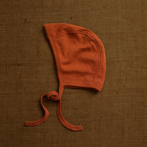 Cotton Pointelle Baby Bonnet - Red Rust