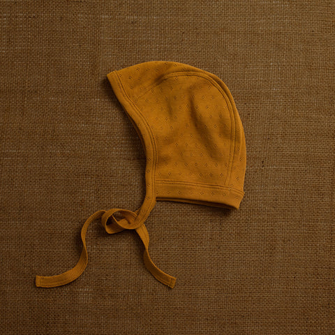 Organic Cotton Pointelle Baby Bonnet - Ochre