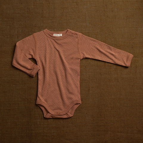 Merino Wool/Silk Pointelle Body - Rosewood