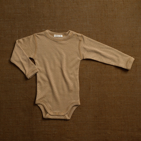 Merino Wool/Silk Pointelle Body - Caramel