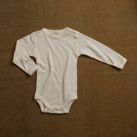 Merino Wool/Silk Pointelle Body - Pearl
