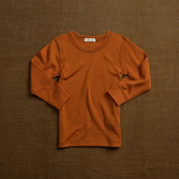 Merino Wool Rib Long Sleeve Top - Rust
