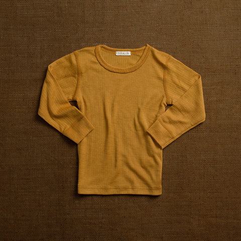 Merino Wool Rib Long Sleeve Top - Ochre