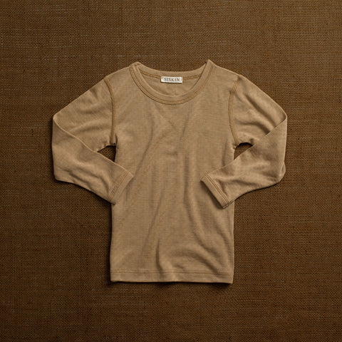 Merino Wool/Silk Pointelle Long Sleeve Top - Caramel
