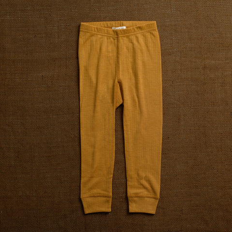 Merino Wool Rib Leggings - Ochre
