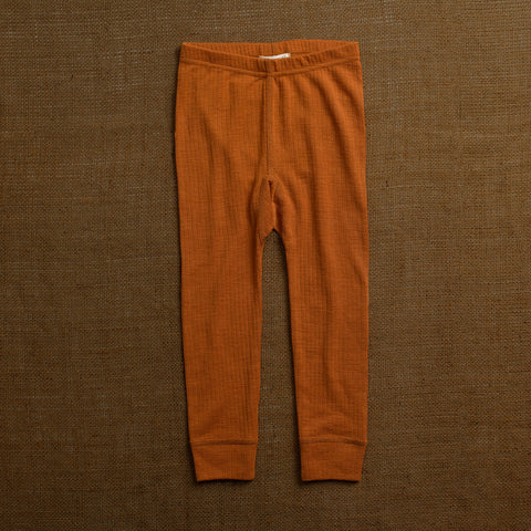 Merino Wool Rib Leggings - Rust