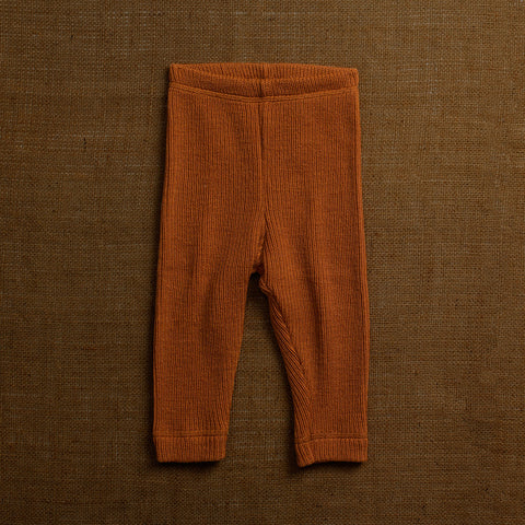 Merino Wool Heavy Rib Pants - Rust