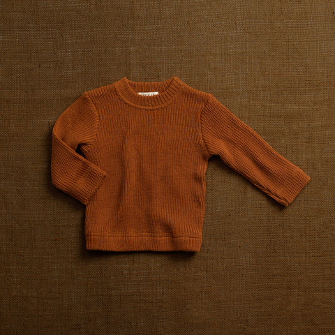 Merino Wool Heavy Rib Sweater - Rust