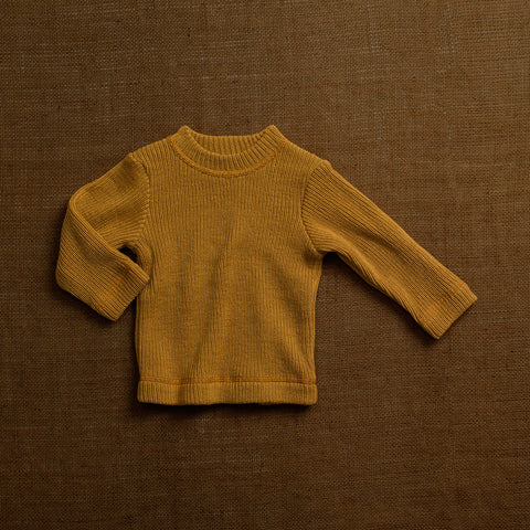 Merino Wool Heavy Rib Sweater -Ochre