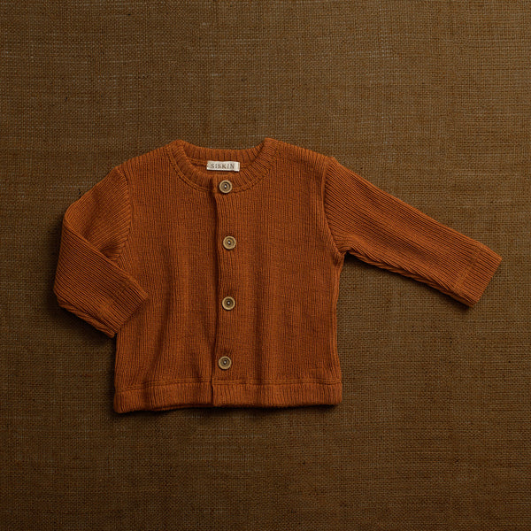 Merino Wool Heavy Rib Cardigan - Rust