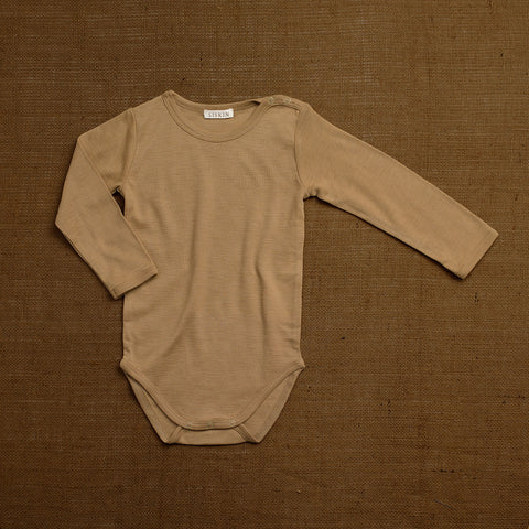 Organic Merino Wool Long Sleeve Body - Caramel