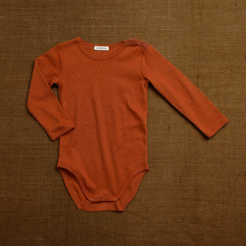 Organic Cotton Pointelle Body - Red Rust