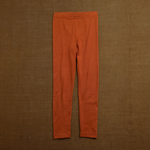 Organic Cotton Pointelle Leggings - Red Rust
