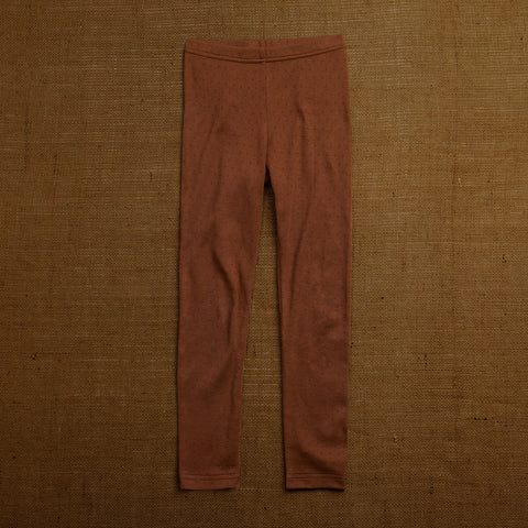 Organic Cotton Pointelle Leggings - Nutmeg