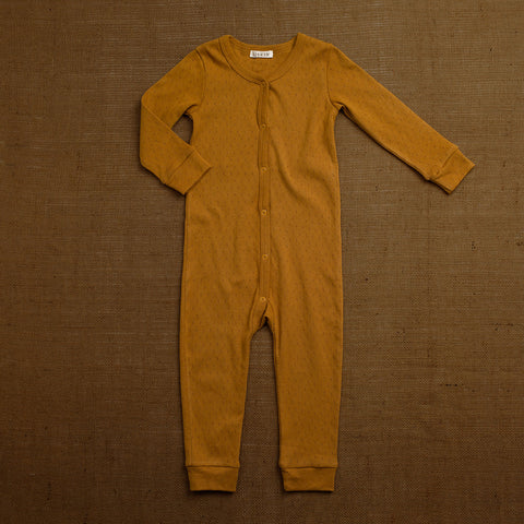 Organic Cotton Pointelle Romper - Ochre