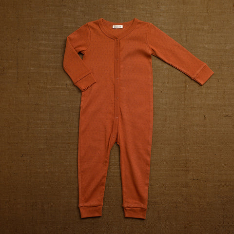 Organic Cotton Pointelle Romper - Red Rust
