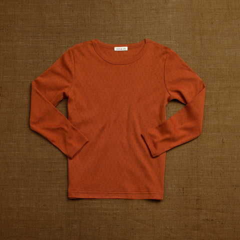 Organic Cotton Pointelle Long Sleeve Top - Red Rust