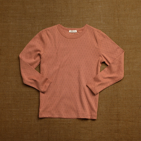 Organic Cotton Pointelle Long Sleeve Top - Rosewood