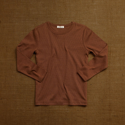 Organic Cotton Pointelle Long Sleeve Top - Nutmeg