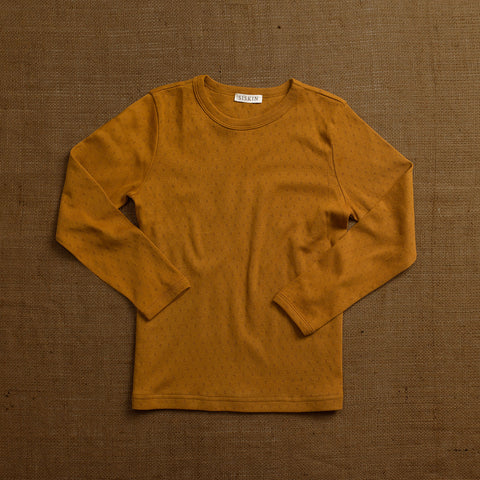 Organic Cotton Pointelle Long Sleeve Top - Ochre