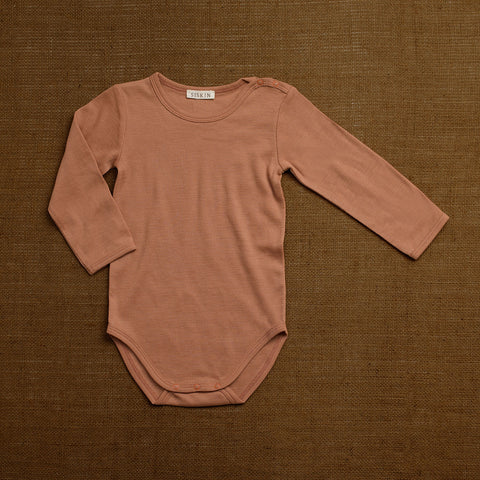 Organic Merino Wool Long Sleeve Body - Rosewood