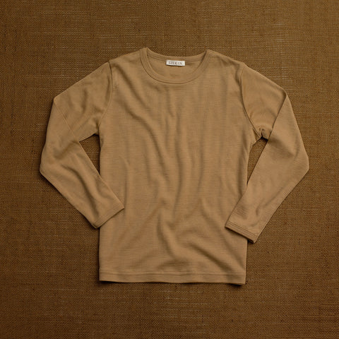 Organic Merino Wool Long Sleeve Top - Caramel