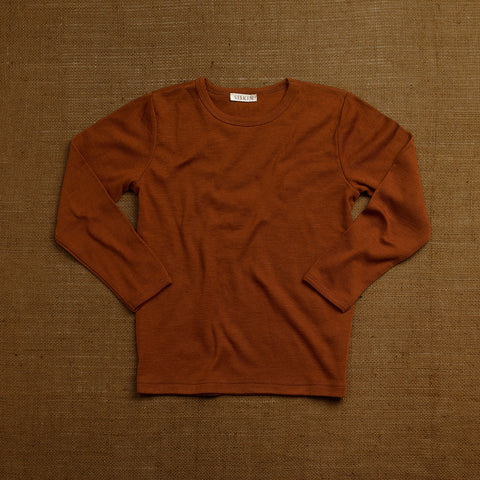 Organic Merino Wool Long Sleeve Top - Cinnamon