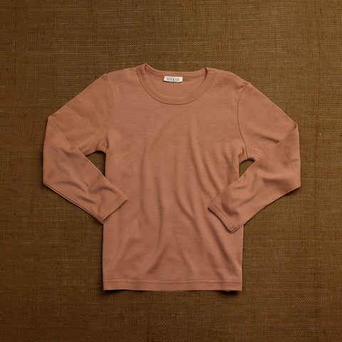 Organic Merino Wool Long Sleeve Top - Rosewood
