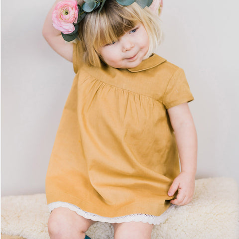 Cotton/Linen Amelie Smock Dress - Mustard - 5-7y