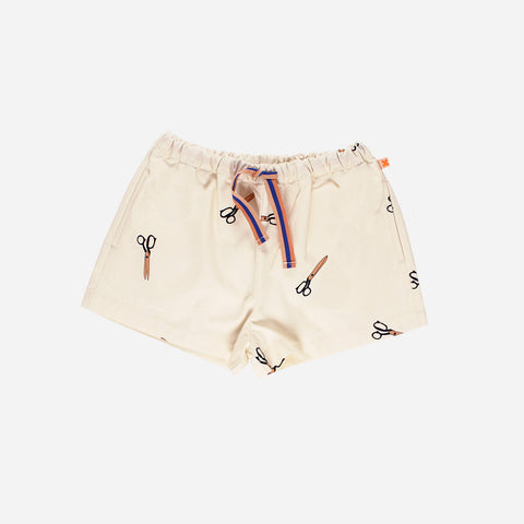 Pima Cotton Woven Scissor Shorts - Off-White - 3m-8y