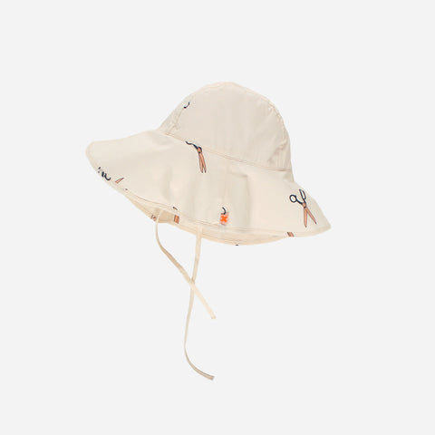 Pima Cotton Woven Scissors Sun Hat -Off-White - M-L