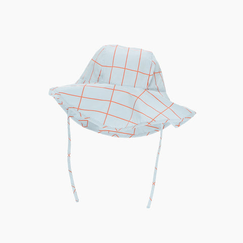 Pima Cotton Woven Grid Sun Hat - Light Blue - M-L