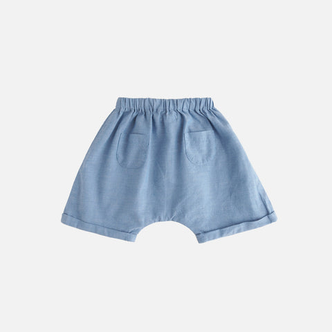Cotton Chambray Shorts - Blue - 3m-2y