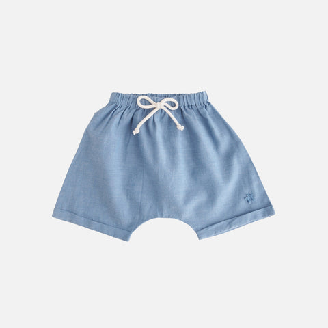 Cotton Chambray Shorts - Blue - 3-12m
