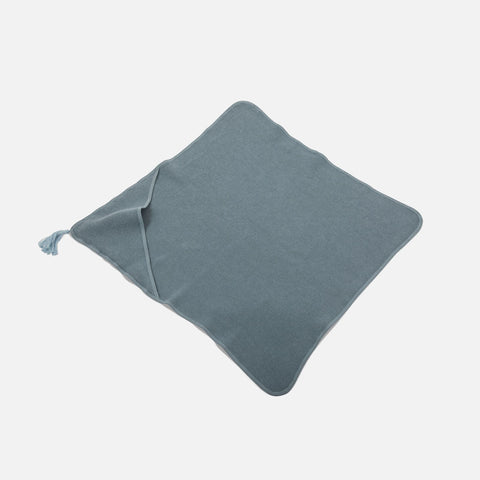 Cotton Sybel Honeycomb Hooded Towel with Pompon - Cool Blue