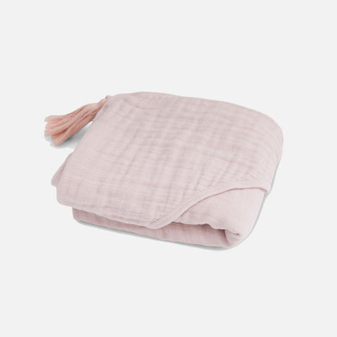 Cotton Muslin Sybel Baby Hooded Towel with Pompon - Rose