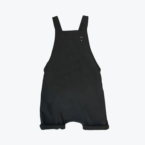 Organic Cotton Short Salopette - Almost Black - 12m-8y