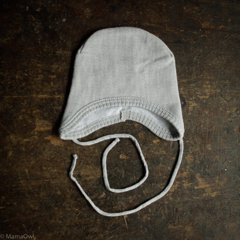 Fine Knit Merino Cotton Lined Baby Hat  - Stone