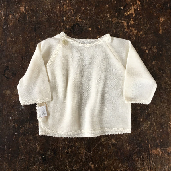 Organic Fine Knit Merino/Silk Top - Natural - 0-2y