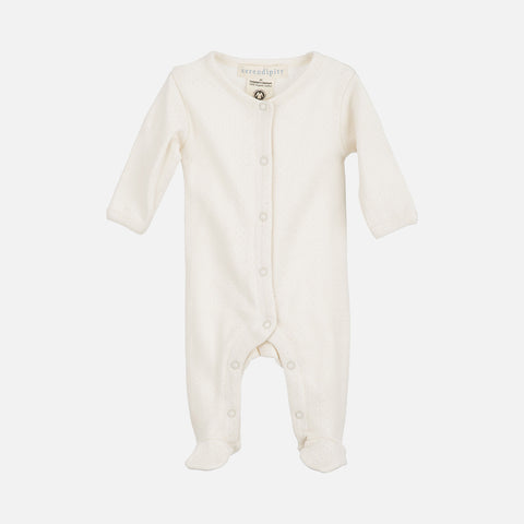 Organic Cotton Newborn Suit With Feet Pointelle - Offwhite - 1-3m