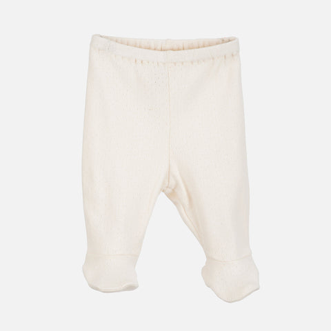 Organic Cotton Newborn Pants With Feet Pointelle- Offwhite - 1-3m
