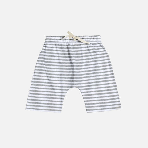 Organic Cotton Shorts Stripes - Grey Melange - 18m-3y