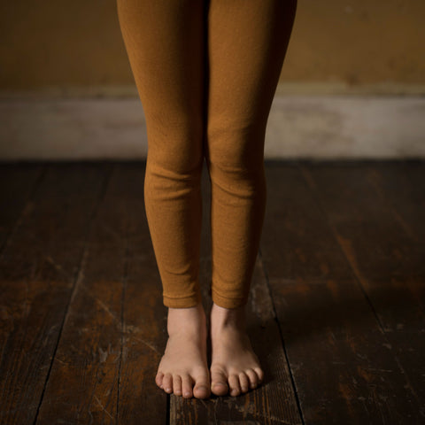 Organic Cotton Pointelle Leggings - Ochre