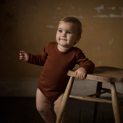Organic Merino Wool Long Sleeve Body - Cinnamon