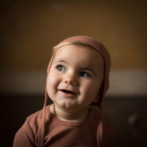Organic Cotton Pointelle Baby Bonnet - Rosewood