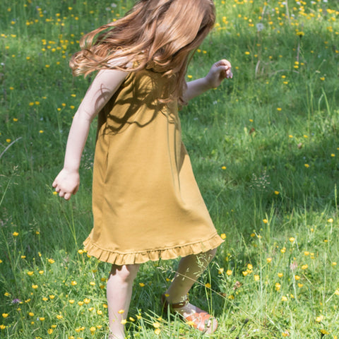 Organic Cotton Sommer Dress - Golden Leaf  - 1-6y